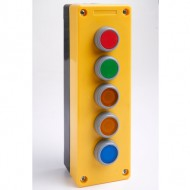 Remote Control Station with Red, Green, Yellow, Yellow, and Blue Pushbutton