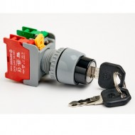 Pushbutton Key Switch 22mm, Key Removable in OFF