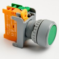 Pushbutton Momentary Switch 22mm Green with LED Lamp