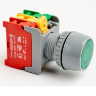 Pushbutton Maintained Switch 22mm Green with LED Lamp