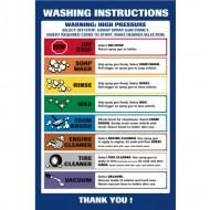 Wash Bay Menu Instruction Sign